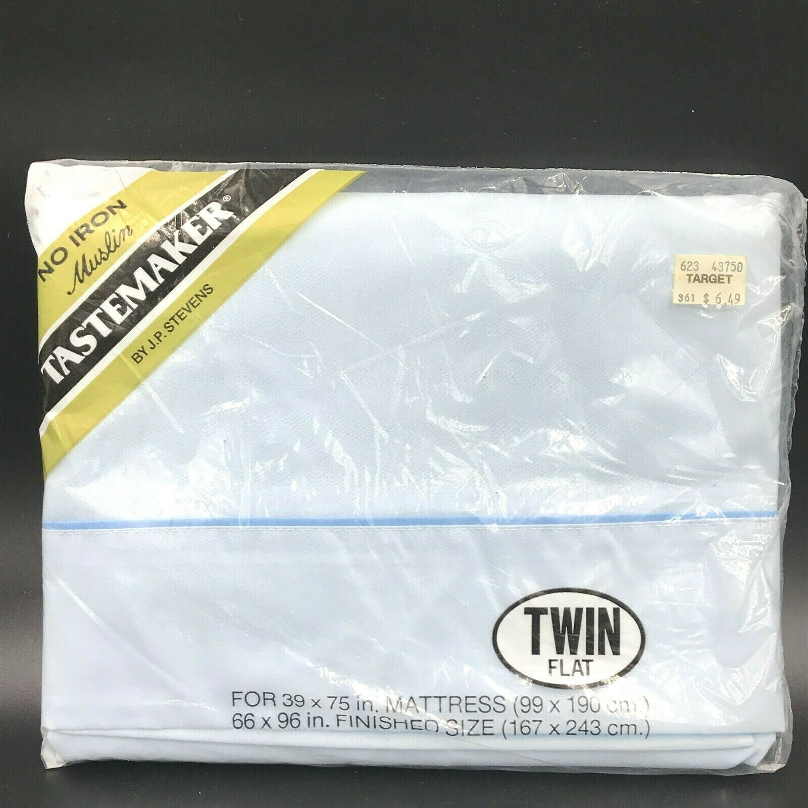 Primary image for Vintage Tastemaker JP Stevens Light Blue Twin Size Flat Sheet Sealed Muslin K6