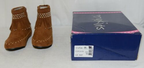 I Love Yo Kids AVA 78K Girls Fringe Boot Rust Silver Studded Size 13