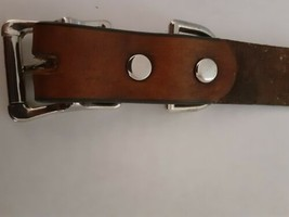 """LEATHER LARGE DOG COLLAR BROWN BRASS STEEL HANDMADE BY AMISH 1"""" WIDE CUSTOM - $24.74"""