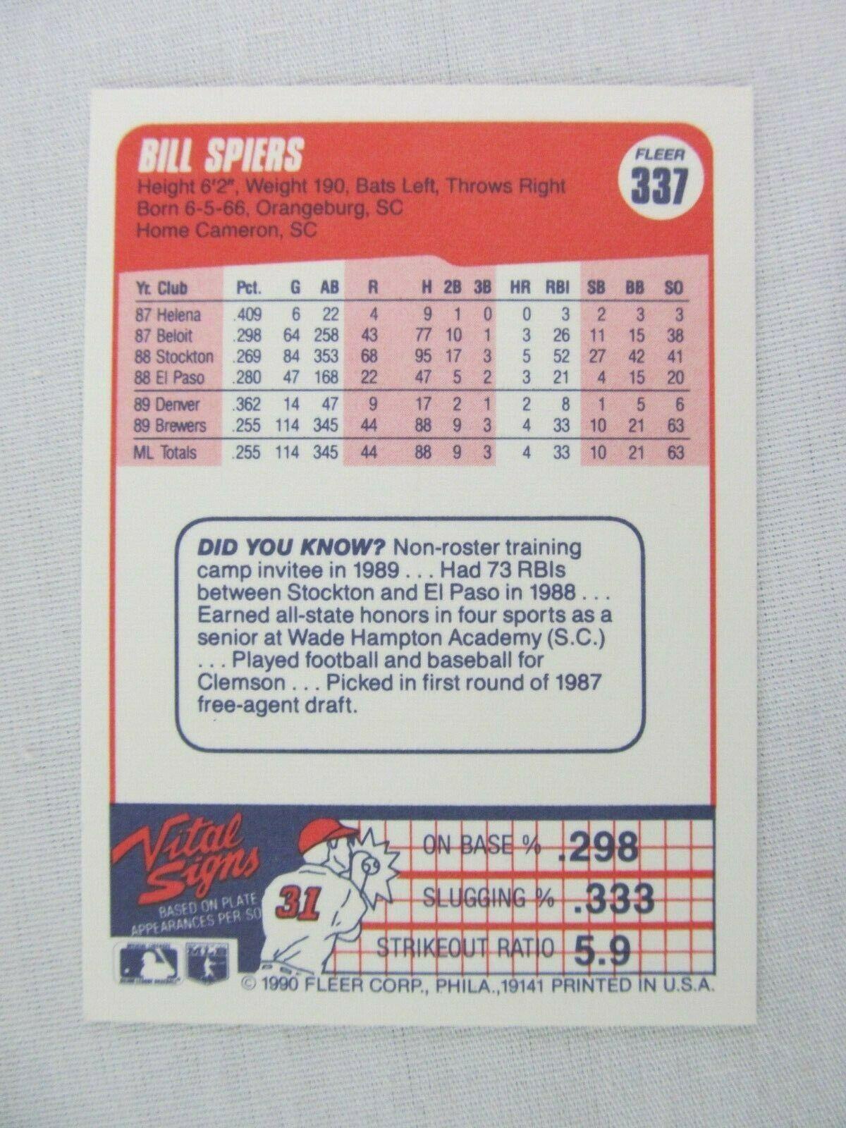 Bill Spiers Milwaukee Brewers 1990 Fleer Baseball Card 337