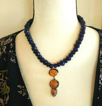 Necklace, with Sapphire & Baltic Amber Pendant Natural Gemstones Sterlin... - $49.06