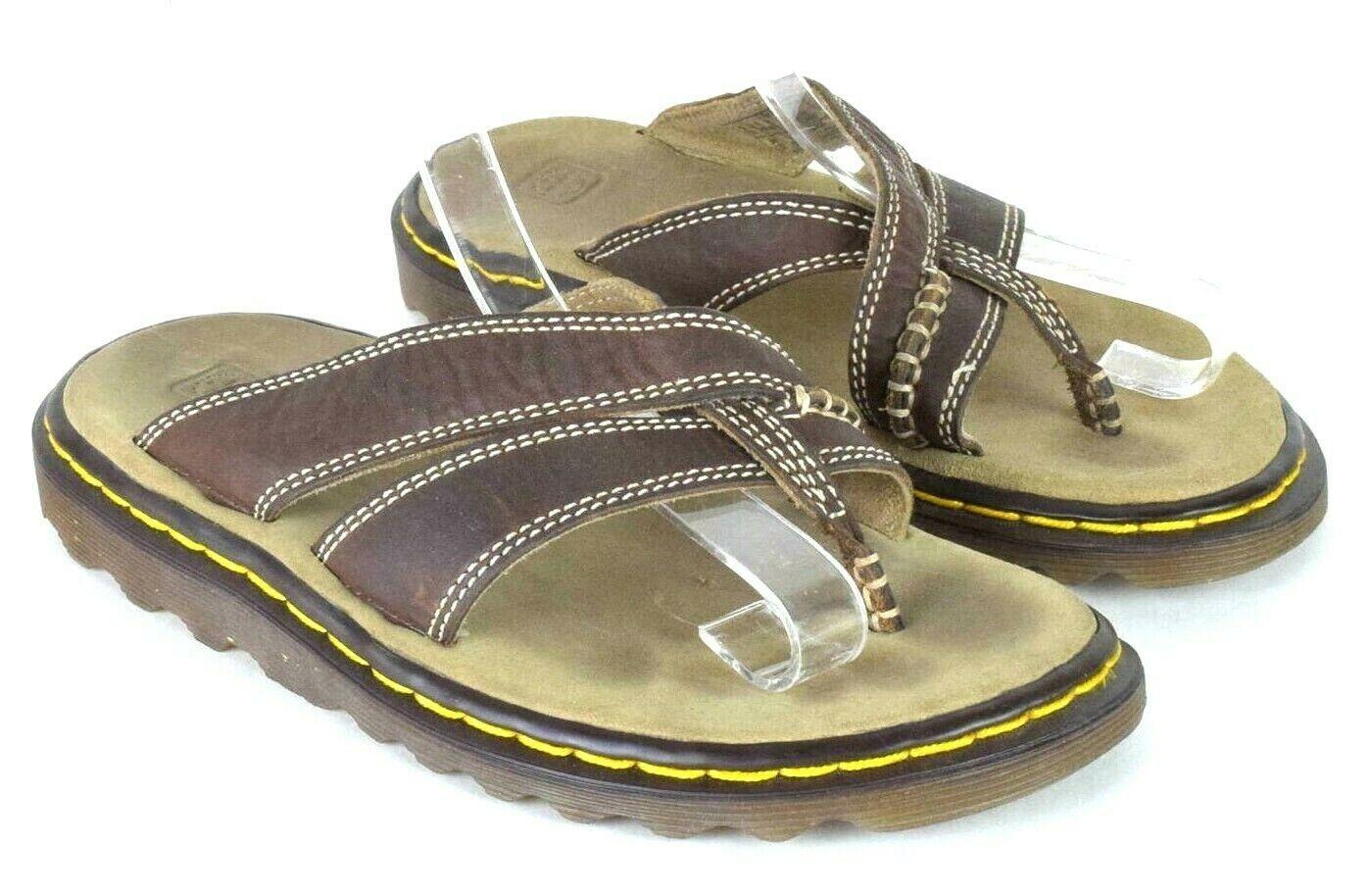 20d3d176e64c Dr Martens Brown Leather Slide Sandals Thong Flip Flops Womens Size US 5 UK  3