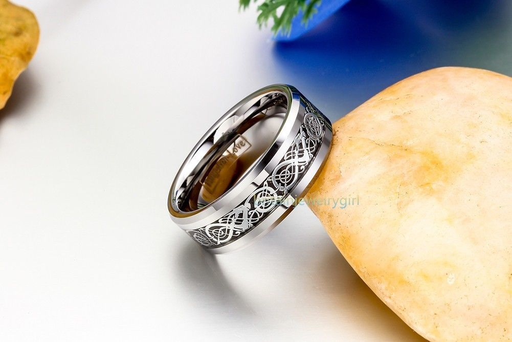 "Men""s Celtic Dragon Inlay Tungsten Carbide Ring Engagement/wedding B"