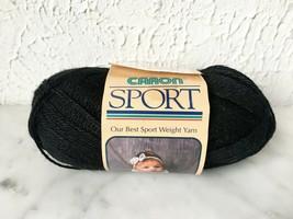 Vintage Caron Sport Weight 3 Ply Acrylic Yarn - 1 Skein Color Black #1621 - $6.60