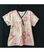 Tafford Pink Flower Floral scrub top size small -with Brown Ribbon - $10.23