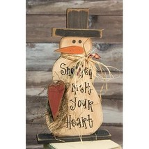 Melt Your Heart Snowman on Base, 2ft  wooden distressed freestanding Country - $44.55