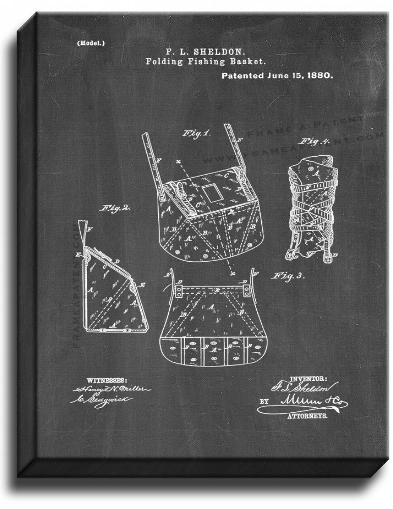 Primary image for Folding Fishing Basket Patent Print Chalkboard on Canvas