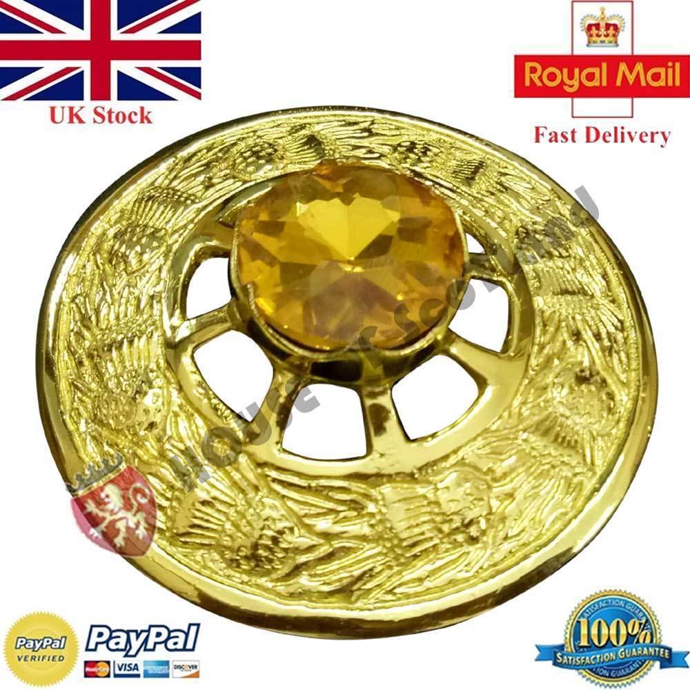 New Full Dress Kilt Sporrans Black Rabbit Fur Celtic Cantle Masonic Badge Gold
