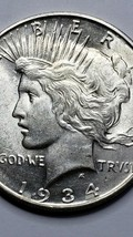1934D Peace SILVER $1 DOLLAR Coin Lot# 519-59 image 2
