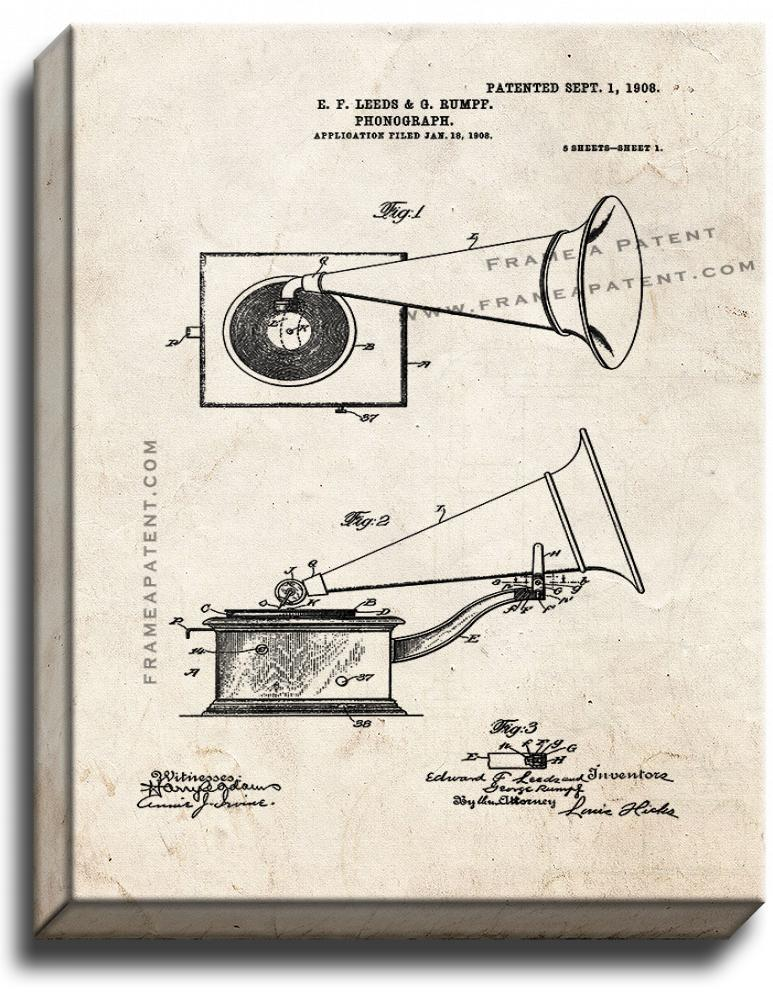 Primary image for Phonograph Patent Print Old Look on Canvas