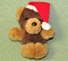 """Vintage Applause Merry Perry Bear Christmas Teddy 1984 Brown Tan Red Hat 7"""" Toy - $33.66"""