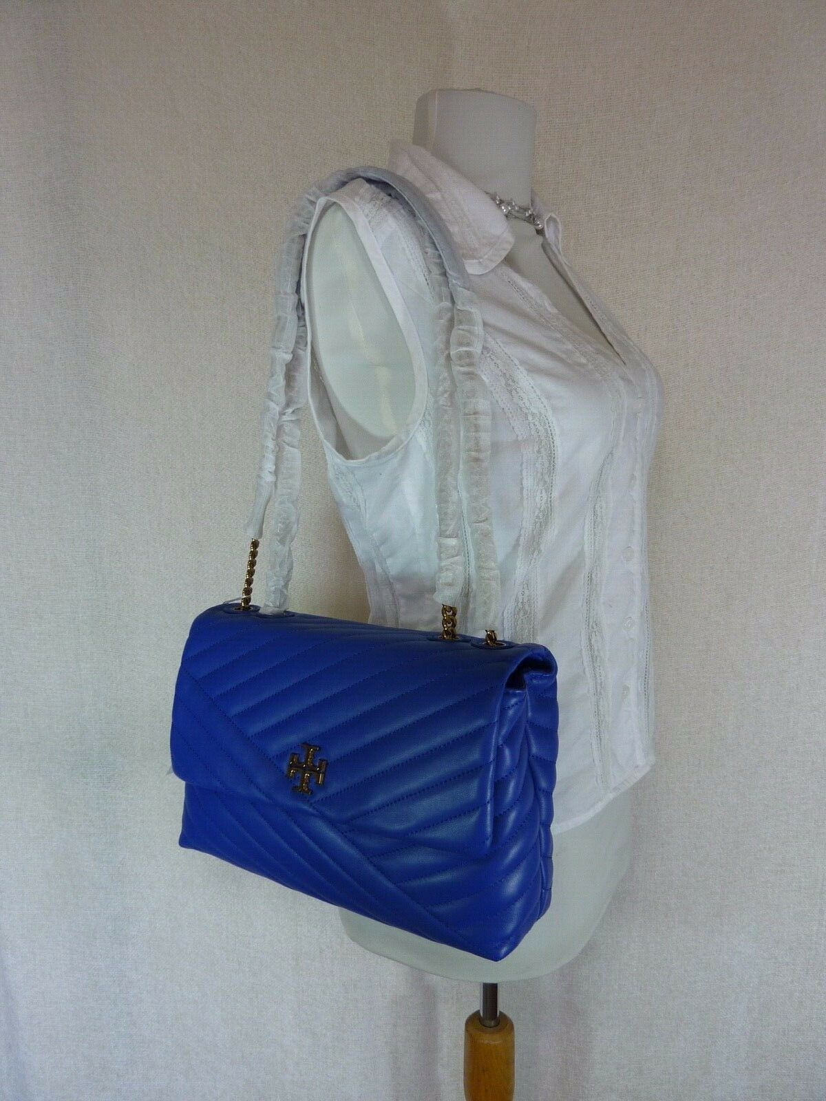 NWT Tory Burch Nautical Blue Kira Chevron Convertible Shoulder Bag image 2