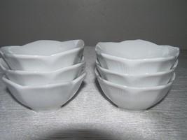 Estate Lot of 6 Cordon Bleu Marked Small White Stoneware Tulip Dishes Cu... - $18.49