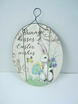 """Bunny Kisses & Easter Wishes Hanging Sign Oval 8.5"""" X 6""""  with hanger - $12.19"""