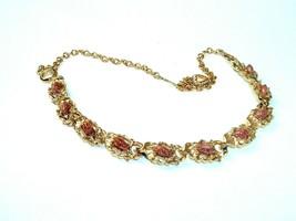 Foil Fleck Confetti Copper and Gold tone link Necklace Vtg - $8.90