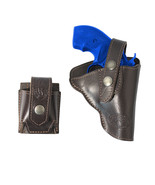 """New Brown Leather OWB Holster + Speed-loader Pouch for Snub Nose 2"""" Revo... - $64.99"""