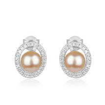 Natural pink pearl gemstone 925 sterling fine silver cute stud earrings ... - $26.73