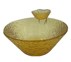 Anchor Hocking Soreno Glass Honey Gold Amber 3 pc Chip Dip Metal Bowl Ho... - $29.95