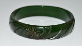 VTG Green BAKELITE TESTED Carved Flower Floral Bangle Bracelet - $198.00