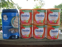 6 Similac Sensitive Baby Formula Powder 12 oz. Cans Gerber Multigran Cereal 16oz - $100.00