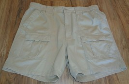 Roundtree & Yorke Size 44 WASHED UTILITY Stone Cotton New Mens Cargo Shorts - $37.25