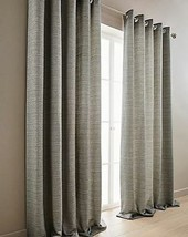 WOVEN GREY BLACK LINED RING TOP CURTAINS & 2 X FILLED CUSHIONS *8 SIZES* - $62.48+
