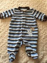 Carters Boys Blue Brown Striped Teddy Bear Terry Long Sleeve Pajamas New... - $5.00