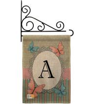 Butterflies A Initial Burlap - Impressions Decorative Metal Fansy Wall Bracket G - $33.97