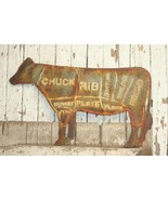 Cow Meat Parts Beef Cut Vintage Rustic Sign - $39.49