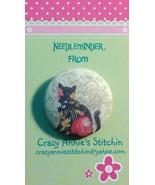 Black Cat Floral Needleminder fabric cross stit... - $7.00