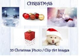 Digital Christmas Photos  Clip Art Images  300 dpi  Xmas - $4.80