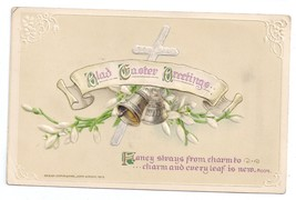 Vintage Easter Postcard Silver Cross Bells Embossed John Winsch 1913 - $4.99