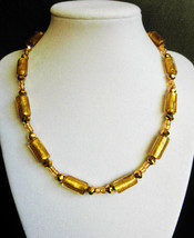 """17"""" artisan handcrafted gold artbeads necklace - $70.00"""