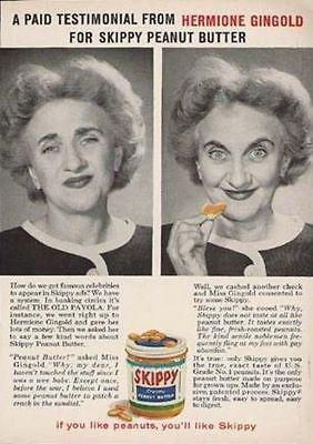 Primary image for Hermione Gingold Actress Testimonial SKIPPY Peanut Butter AD 1950s Advertising