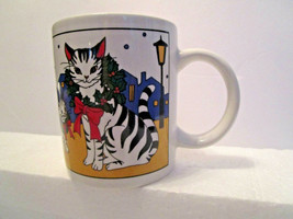 Mikasa Studio Nova Mug Cup CHRISTMAS CATS in the CITY - Vintage - $9.95