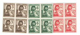 Germany WWII 1937 Reich Air Protection Soldier Set of 3 Blocks of Stamps 481-83