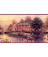 Thomas Kinkade Village Bridges Imperial Wallpaper Border AKA 30882210B - $16.99