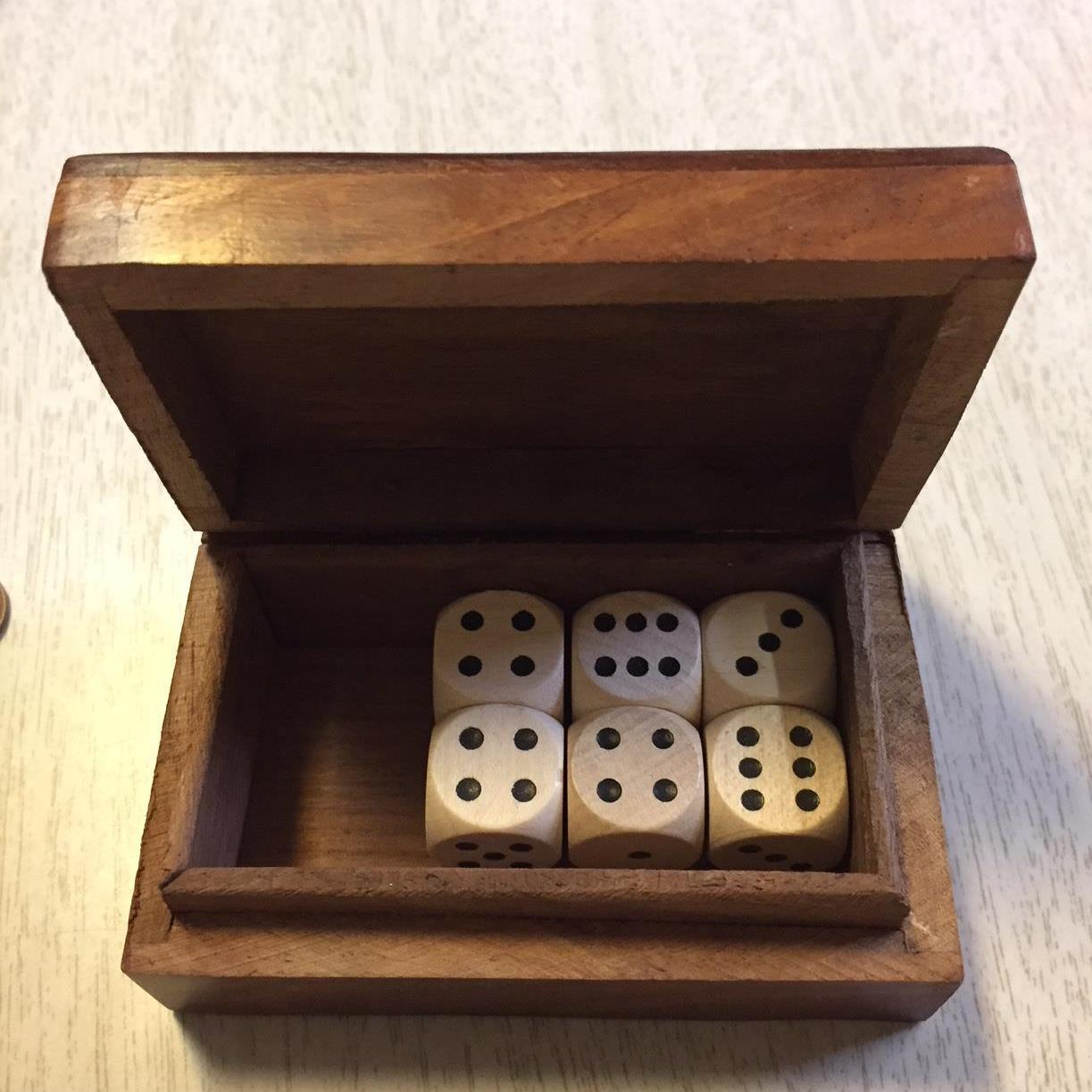 wood dice set in decorative wood box farkle haversack stuffer set number 4