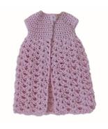 Barbie Doll Clothes Crochet Light Pink One Button Long Cardigan Handmade - $6.49
