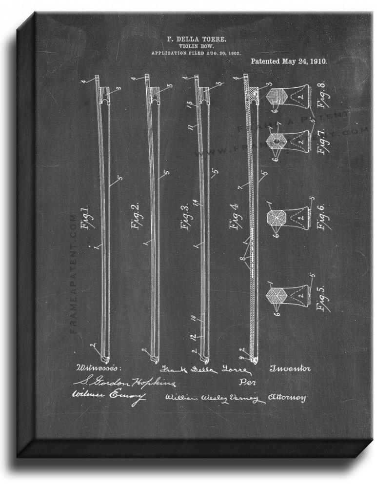 Primary image for Violin Bow Patent Print Chalkboard on Canvas