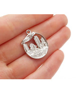 925 Sterling Silver - Shiny Montreal City Skyline Round Drop Pendant - P... - $24.04