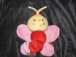 Fisher Price Stuffed Plush Insect Bug Butterfly Musical Baby Crib Pull Toy Red - $44.54