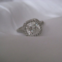 14k White Gold Plated 925 Sterling Silver Cushion Cut Sim Diamond Weddin... - $79.60