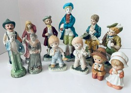 12 Figurines Old People Pilgrims Kids Couples Victorian Bisque Taiwan Lefton - $45.00