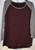 NEW WOMENS 3X PLUS SIZE PURPLE PLUM WITH GRAY GRAY SLEEVES T-SHIRT  TEE ... - $19.34