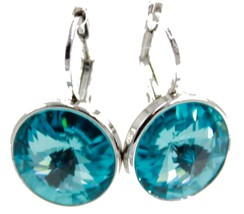 Swarovski Elements Turquoise Bella Earrings Rhodium Plated Dangle Leverb... - $25.30