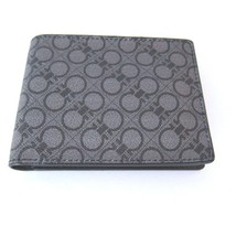 B-119122 New Salvatore Ferragamo Leather Black/Gray Logo Print Bifold Wa... - $259.99