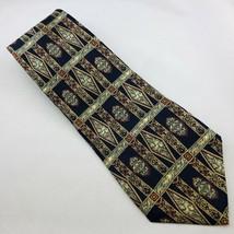 Bill Blass Men's Necktie 100% Silk Geometric Navy, Burgundy, Tan, Green 57x4 - $7.75