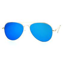 Flat Lens Aviator Sunglasses Thin Metal Spring Hinge Frame Gold Mirror Lens - $8.95