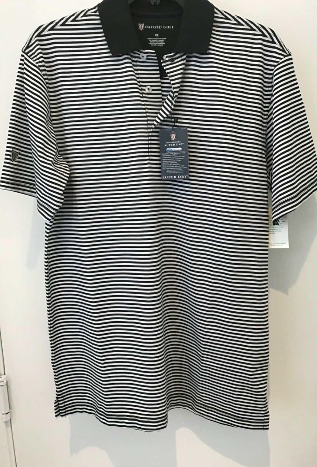 Oxford Golf Super Dry Cool Max Mens XS Black Striped Short Sleeve Polo Shirt NWT